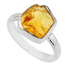 925 silver 5.03cts yellow citrine rough fancy solitaire ring size 8 r16784
