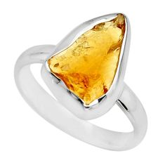 5.06cts yellow citrine rough 925 silver solitaire ring jewelry size 8 r16785