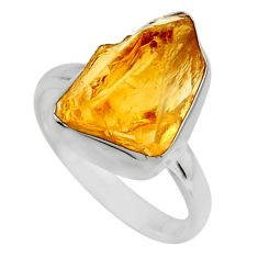 6.26cts yellow citrine rough 925 silver solitaire ring jewelry size 7 r16786