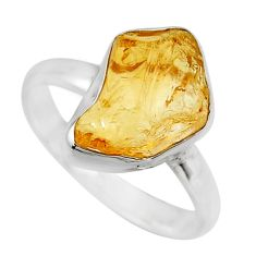 925 silver 5.84cts yellow citrine rough solitaire ring jewelry size 8 r16788