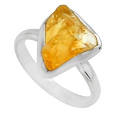 6.03cts yellow citrine rough 925 silver solitaire ring jewelry size 9 r16789