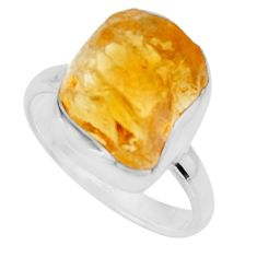 7.50cts yellow citrine rough 925 silver solitaire ring jewelry size 8 r16790