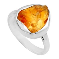 925 silver 5.47cts yellow citrine rough solitaire ring jewelry size 7 r16791