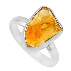 6.39cts yellow citrine rough 925 silver solitaire ring jewelry size 8 r16792