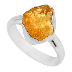 4.89cts yellow citrine rough 925 silver solitaire ring jewelry size 6 r16793