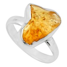 6.43cts yellow citrine rough 925 silver solitaire ring jewelry size 7 r16794
