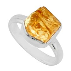 925 silver 4.53cts yellow citrine rough solitaire ring jewelry size 6.5 r16795