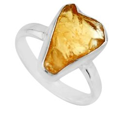 5.21cts yellow citrine rough 925 silver solitaire ring jewelry size 7.5 r16796