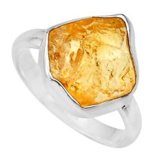 6.03cts yellow citrine rough 925 silver solitaire ring jewelry size 9 r16797