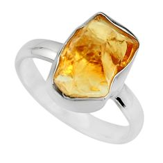 5.84cts yellow citrine rough 925 silver solitaire ring jewelry size 8 r16798