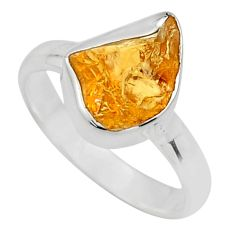 925 silver 4.53cts yellow citrine rough solitaire ring jewelry size 6 r16799