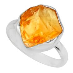 6.72cts yellow citrine rough 925 silver solitaire ring jewelry size 8 r16800