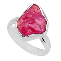 5.63cts natural pink ruby rough 925 sterling silver solitaire ring size 6 r16801
