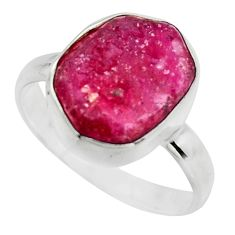 7.03cts natural pink ruby rough 925 sterling silver solitaire ring size 9 r16807