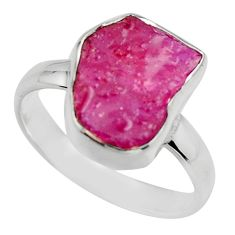 5.45cts natural pink ruby rough 925 sterling silver solitaire ring size 8 r16810