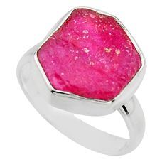 6.48cts natural pink ruby rough 925 sterling silver solitaire ring size 7 r16811