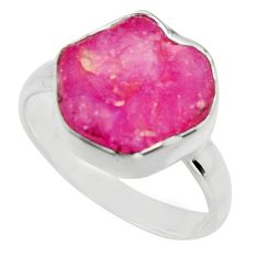 925 sterling silver 6.85cts natural pink ruby rough solitaire ring size 9 r16814