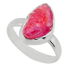 5.23cts natural pink ruby rough 925 sterling silver solitaire ring size 6 r16815