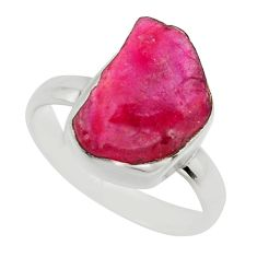 7.35cts natural pink ruby rough 925 sterling silver solitaire ring size 9 r16820