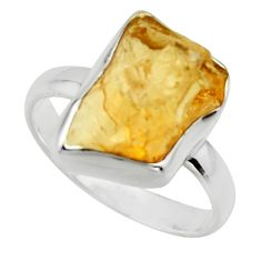 6.27cts yellow citrine rough 925 sterling silver solitaire ring size 8 r16821