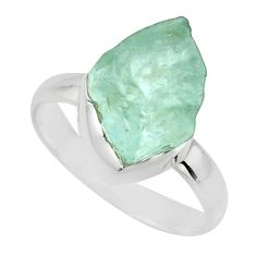 5.95cts natural aqua aquamarine rough 925 silver solitaire ring size 8 r16822