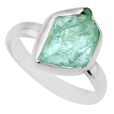 4.80cts natural aqua aquamarine rough 925 silver solitaire ring size 8 r16823