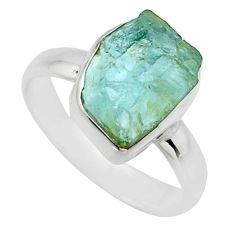 925 silver 5.17cts natural aqua aquamarine rough solitaire ring size 7 r16824