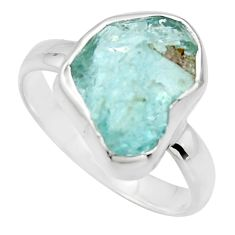 5.96cts natural aqua aquamarine rough 925 silver solitaire ring size 9 r16826