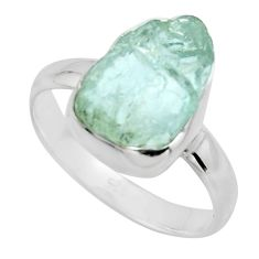 5.63cts natural aqua aquamarine rough 925 silver solitaire ring size 9 r16827