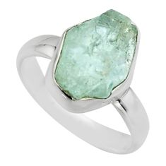 5.06cts natural aqua aquamarine rough 925 silver solitaire ring size 7 r16828