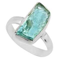 925 silver 5.17cts natural aqua aquamarine rough solitaire ring size 7 r16829
