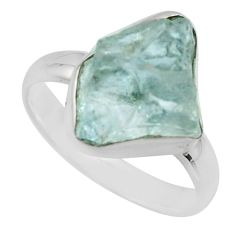5.63cts natural aqua aquamarine rough 925 silver solitaire ring size 7 r16830