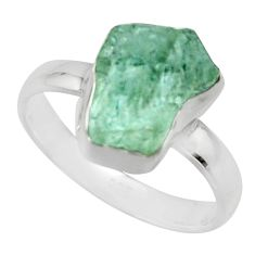 4.80cts natural aqua aquamarine rough 925 silver solitaire ring size 8 r16831