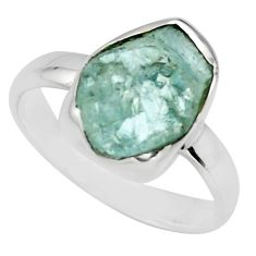 4.87cts natural aqua aquamarine rough 925 silver solitaire ring size 7 r16832