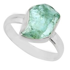 925 silver 5.45cts natural aqua aquamarine rough solitaire ring size 7 r16833