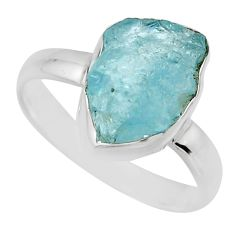 5.11cts natural aqua aquamarine rough 925 silver solitaire ring size 8 r16834