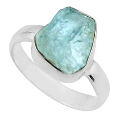 4.52cts natural aqua aquamarine rough 925 silver solitaire ring size 6 r16835