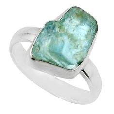 4.75cts natural aqua aquamarine rough 925 silver solitaire ring size 6 r16836