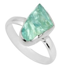 925 silver 4.75cts natural aqua aquamarine rough solitaire ring size 8 r16837
