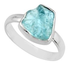 4.52cts natural aqua aquamarine rough 925 silver solitaire ring size 8 r16838