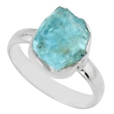 4.75cts natural aqua aquamarine rough 925 silver solitaire ring size 7 r16839