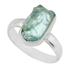 925 silver 4.52cts natural aqua aquamarine rough solitaire ring size 6 r16840