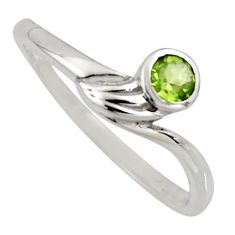 0.37cts natural green peridot 925 sterling silver solitaire ring size 6.5 r6627