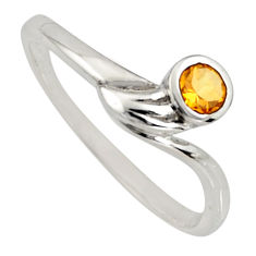 0.45cts natural yellow citrine 925 silver solitaire ring jewelry size 8.5 r6634