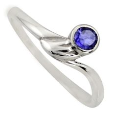 0.41cts natural blue iolite 925 sterling silver solitaire ring size 8.5 r6638