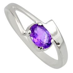 0.94cts natural purple amethyst 925 silver solitaire ring jewelry size 7.5 r6643