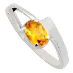 1.00cts natural yellow citrine 925 silver solitaire ring jewelry size 9 r6647