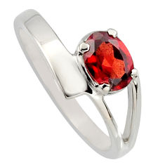 1.01cts natural red garnet 925 sterling silver solitaire ring size 7.5 r6650