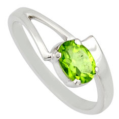1.01cts natural green peridot 925 silver solitaire ring jewelry size 5.5 r6653