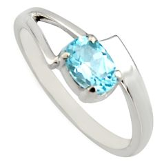 1.01cts natural blue topaz 925 sterling silver solitaire ring size 8.5 r6656